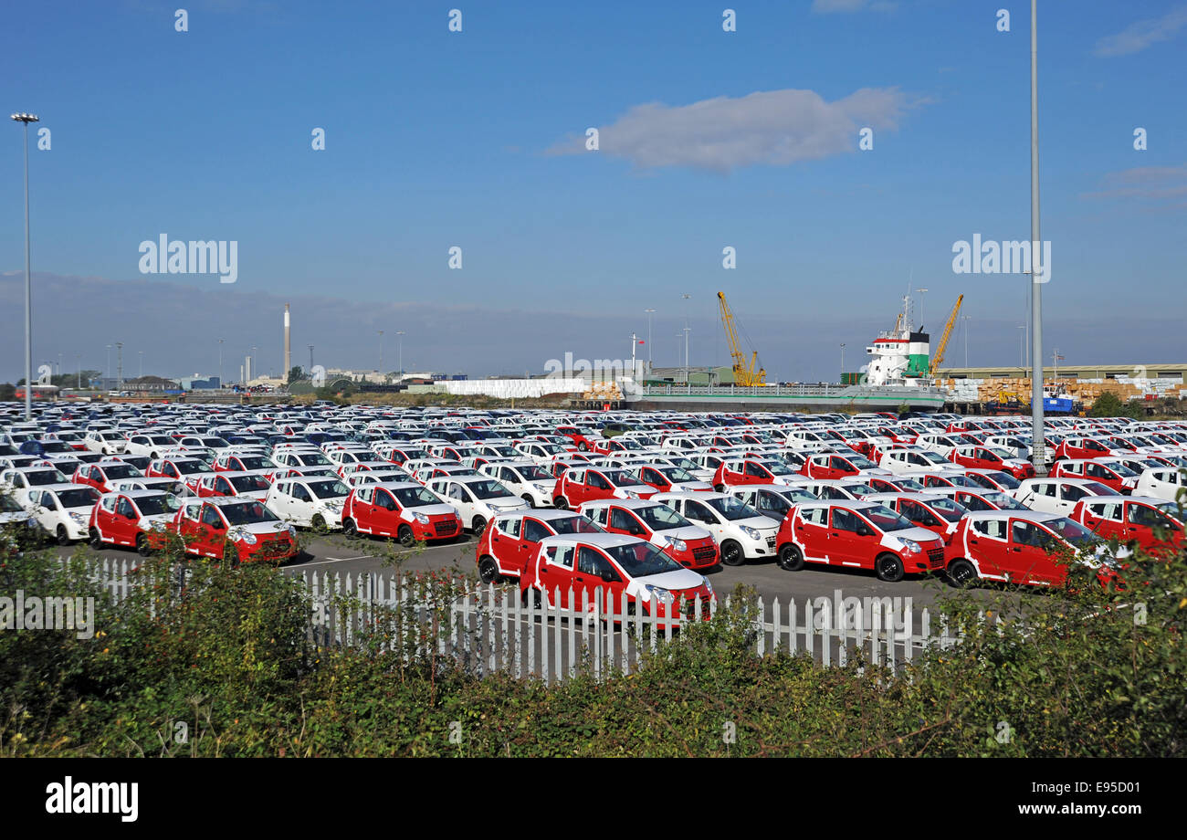 Imported cars on Grimsby Docks ready to be transported across the UK - Stock Image
