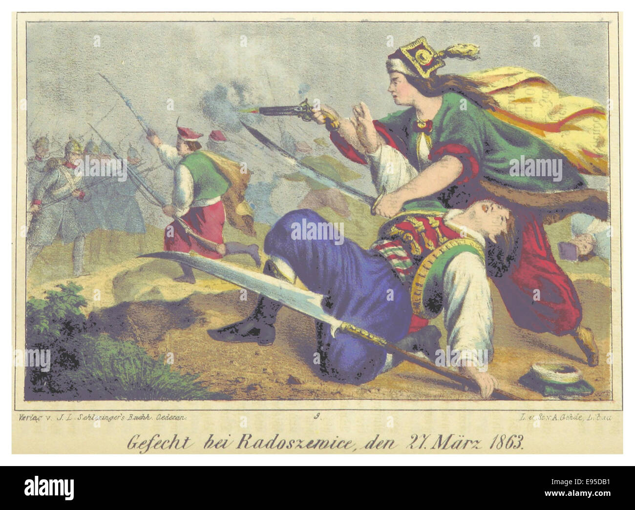 J.(1864) Poln.Rev. p320 GEFECHT BEI RADOSZEWICE, DEN 27. MC384RZ 1863 - Stock Image