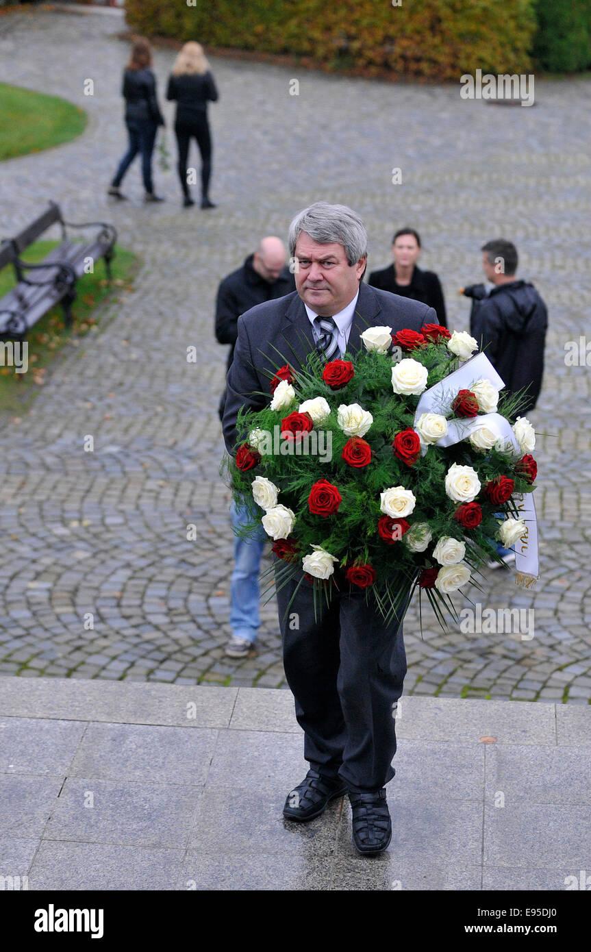 Zdar nad Sazavou, Czech Republic. 20th October, 2014. Several hundreds of people, including the family, schoolmates, - Stock Image