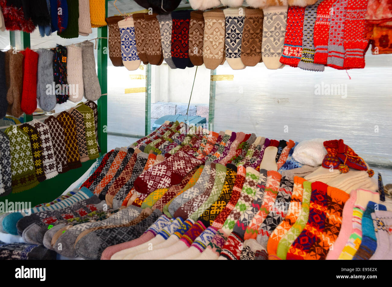 latvian socks central market riga latvia - Stock Image