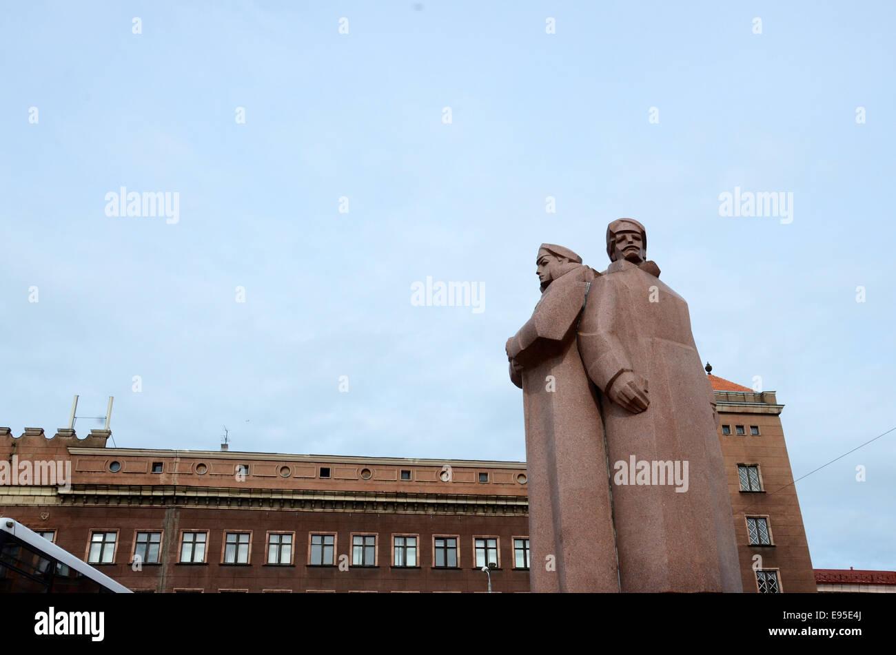 latvian rifleman monument riga latvia Stock Photo