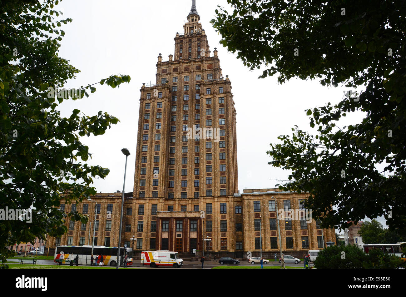 latvian academy of science riga soviet stalinist building socialist classicism - Stock Image