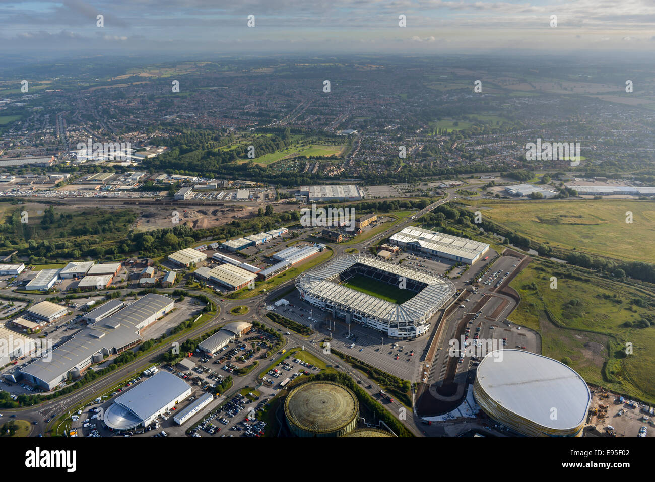 An aerial view looking over the East Midlands city of Derby with the Ipro Stadium in the foreground - Stock Image