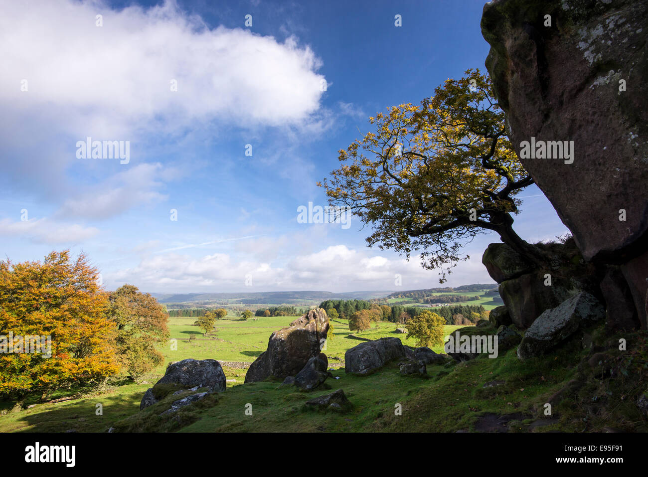 Countryside view from Robin Hoods stride in the Peak District, Derbyshire. Sunny Autumn day. - Stock Image