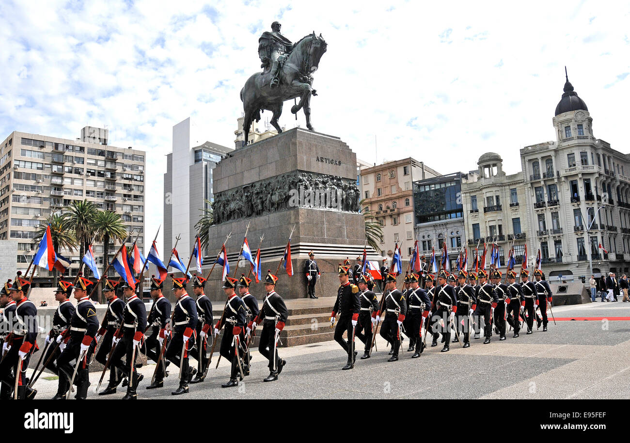 guards parade on Independence square  Montevideo Uruguay Stock Photo