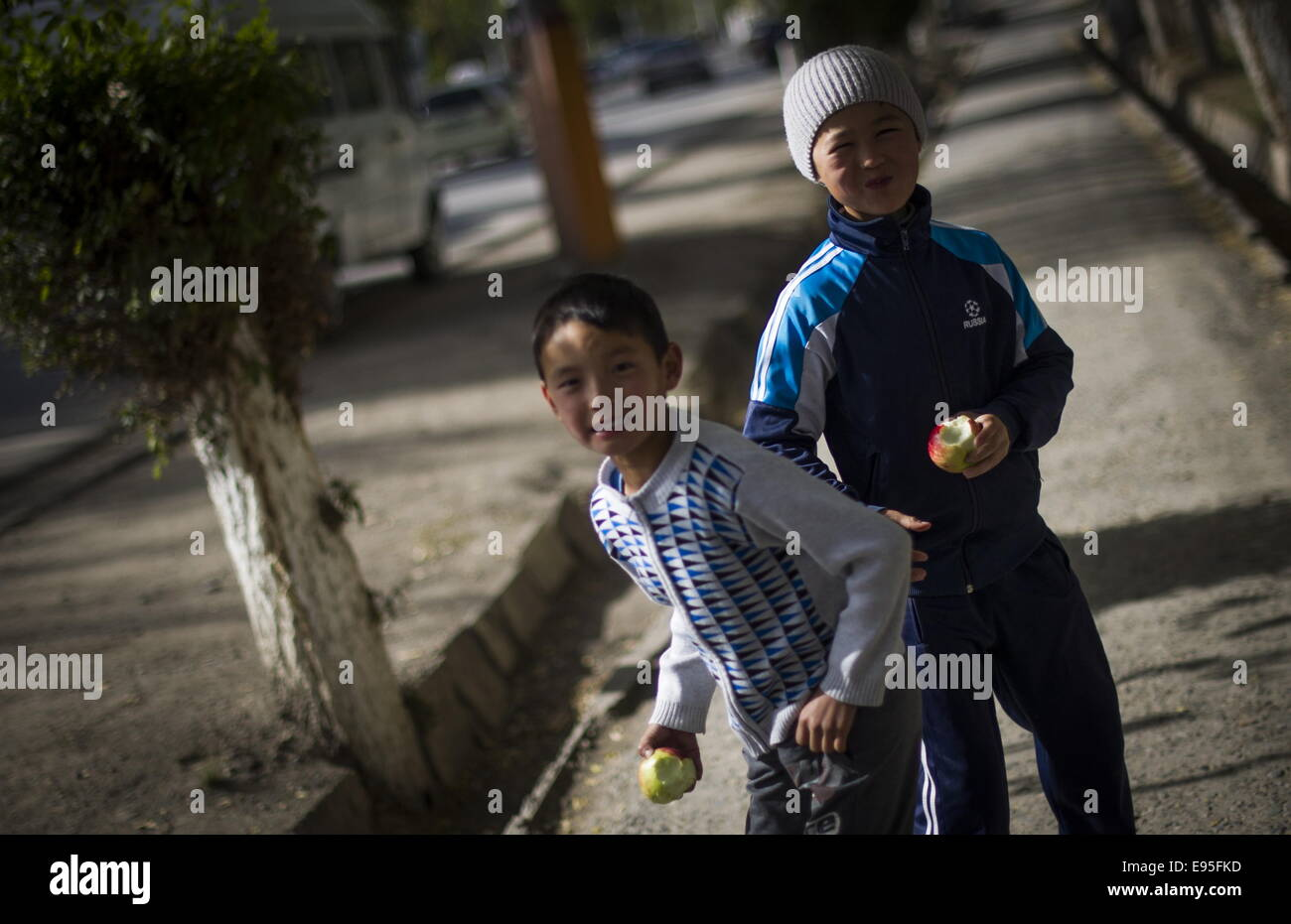 Kyrgyzstan. 20th Oct, 2014. Children in the town of Naryn. Credit:  ITAR-TASS Photo Agency/Alamy Live News - Stock Image