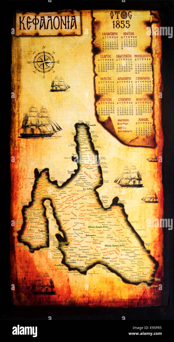 Antiqued map calendar of Kefalonia. - Stock Image