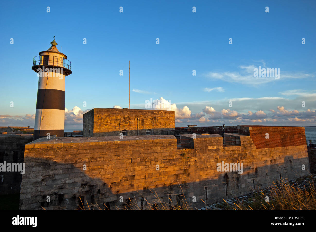 Southsea Lighthouse at Southsea Castle at sunset - Stock Image