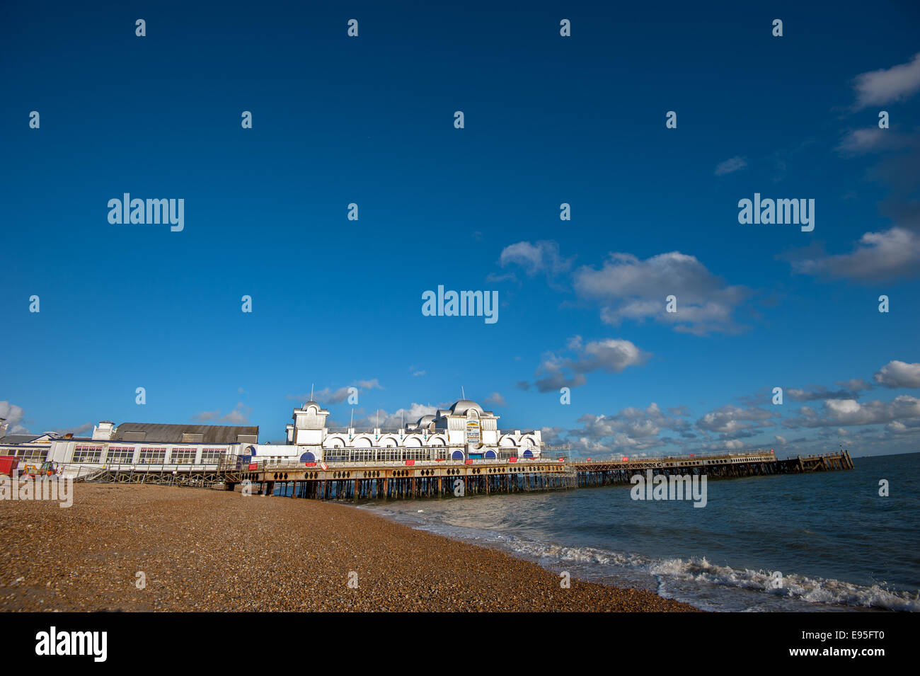 Repair work goes on on South Parade Pier, Southsea seafront Stock Photo