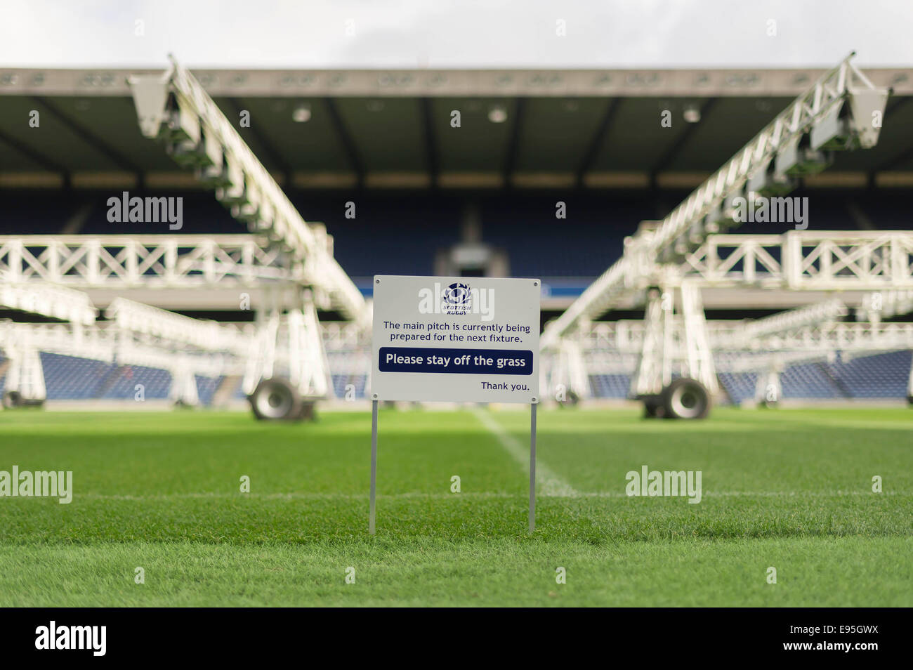Edinburgh, Scotland, UK. 20th October, 2014. The new pitch at Murrayfield that combines artificial and real grass - Stock Image