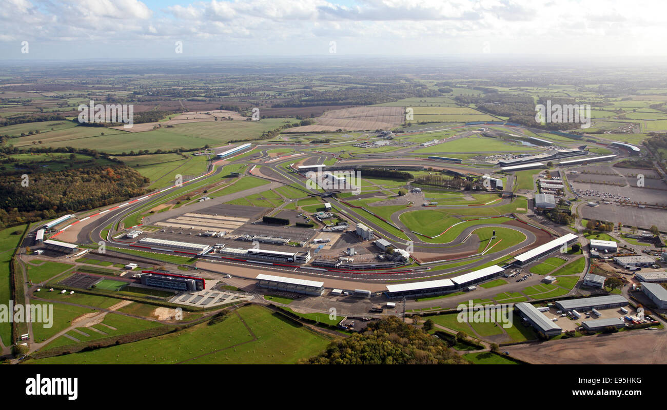 aerial view of Silverstone race circuit in Northamptonshire, UK - Stock Image