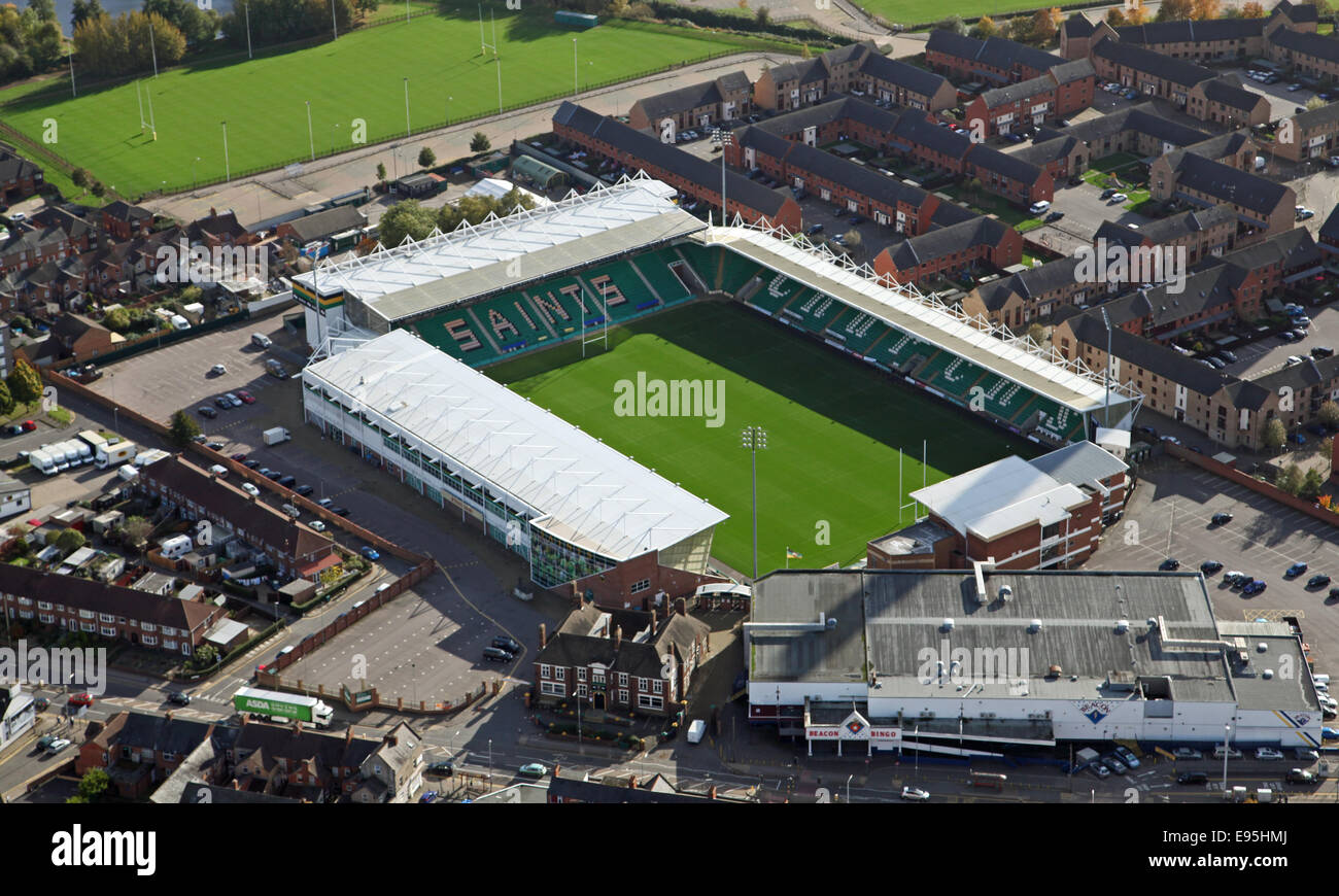 aerial view of the Northampton Saints Rugby Union Stadium at Weedon Road - Stock Image
