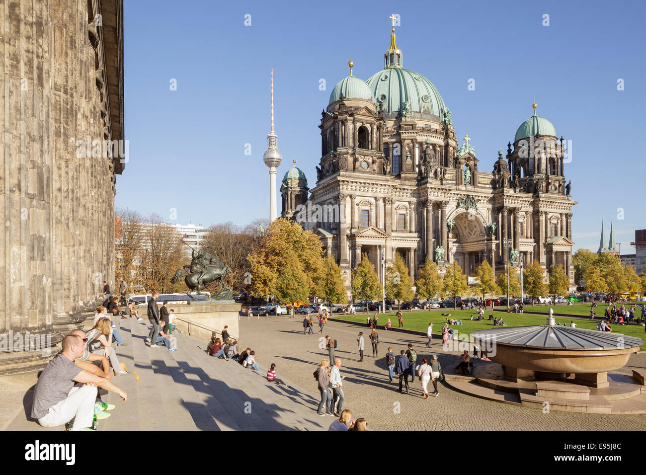 Berlin Cathedral and Lustgarten, Berlin, Germany - Stock Image