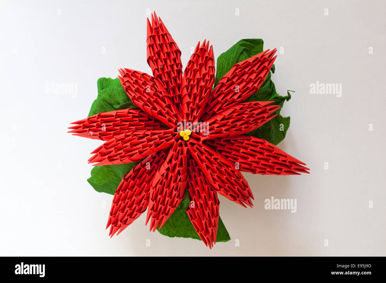 Red Flower Origami White Isolated Stock Photos Red Flower Origami