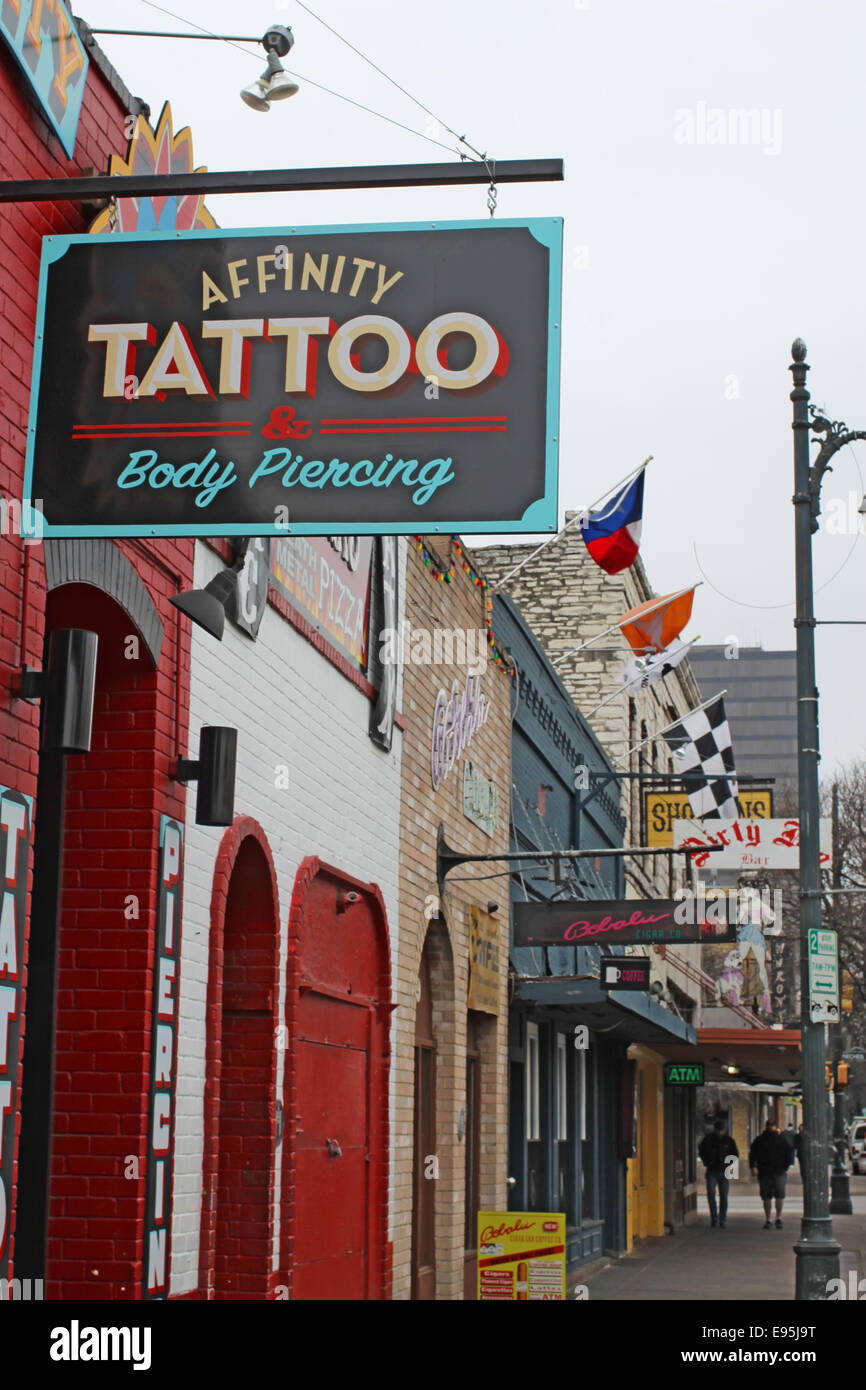 Sign For Affinity Tattoo Parlor On Historic Th Street In The Downtown Entertainment District Of Austin Texas