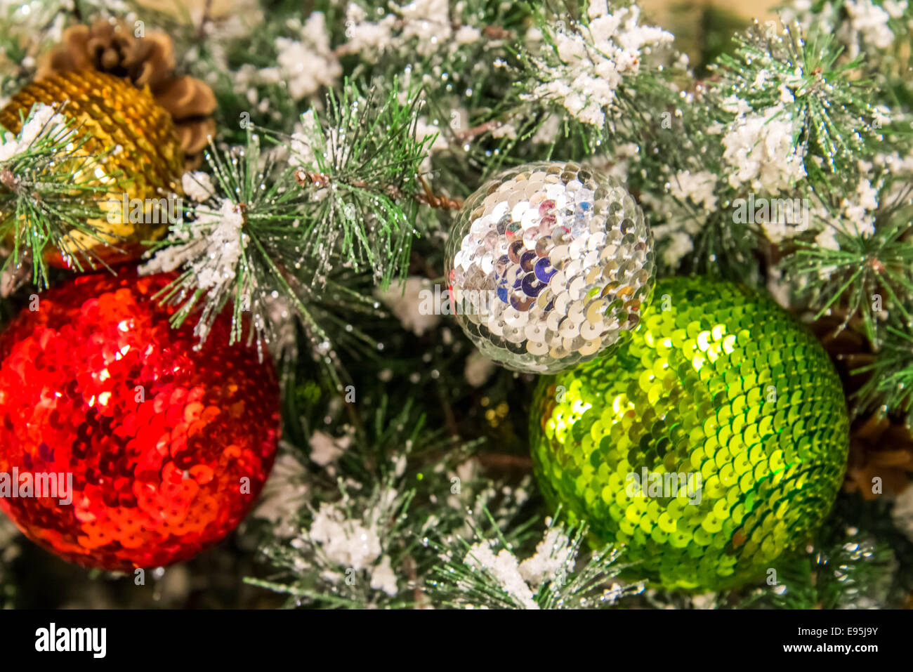 christmas decorations ornaments gold silver green red stock image - Red Gold And Silver Christmas Decorations