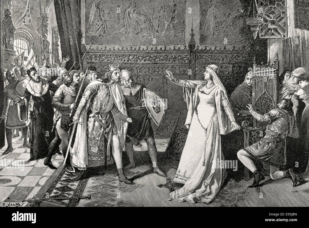 Maria de Molina (1265-1321). Queen regent. Maria defending the infant Don Juan. Engraving. - Stock Image
