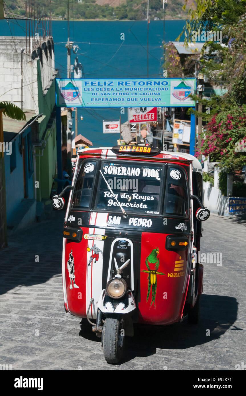 Red tuk tuk taxi, San Pedro La Laguna, Lake Atitlan