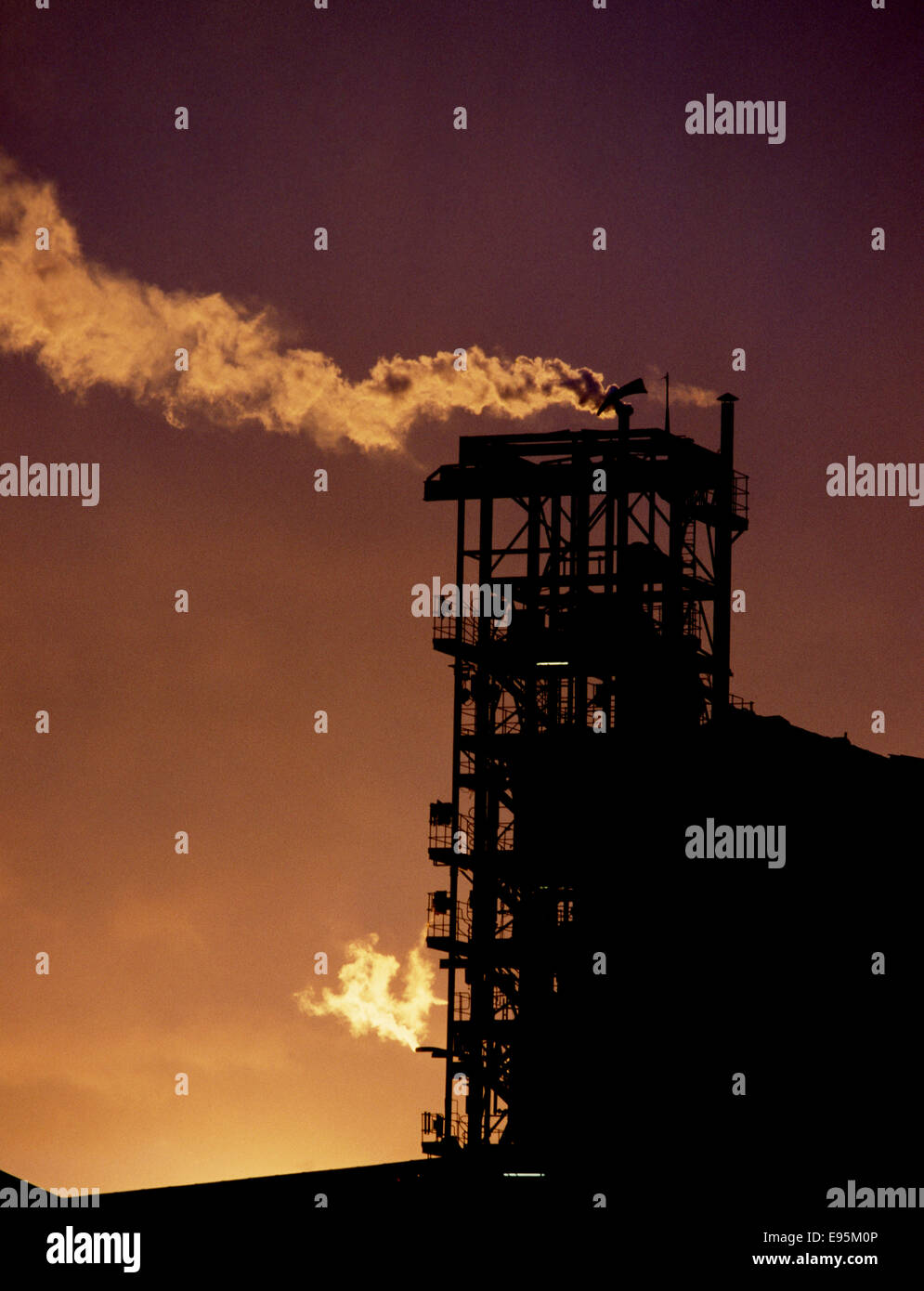 Industry gas chimney factory - Stock Image