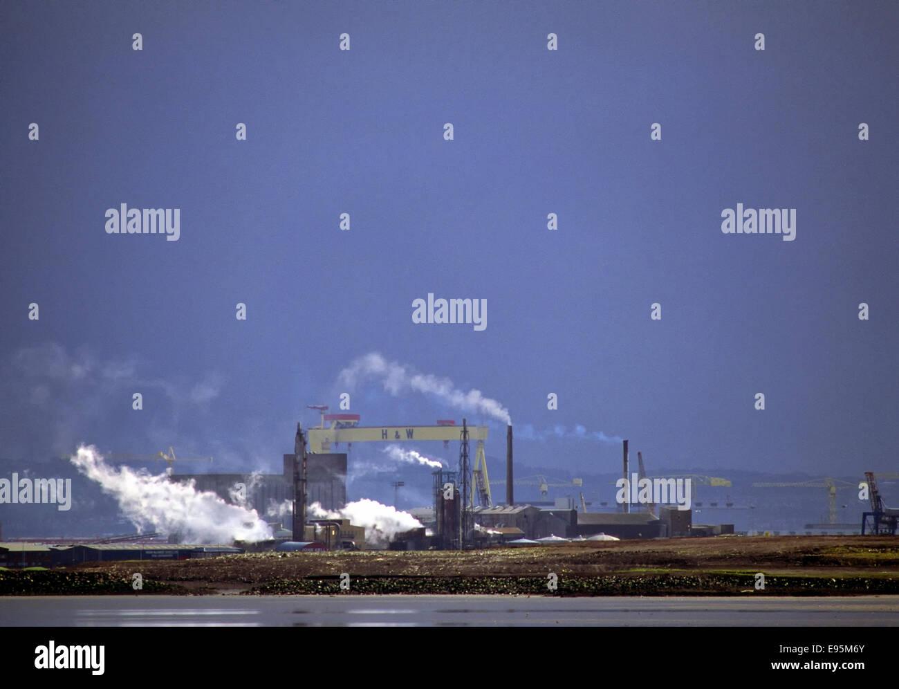 Industrial image of Belfast skyline, Northern Ireland - Stock Image