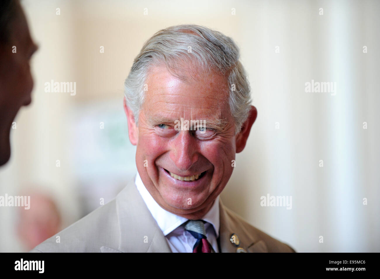 A relaxed and smiling Prince Charles during a public engagement in Sussex - Stock Image