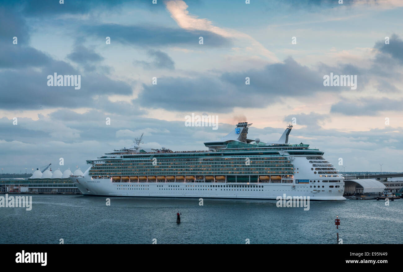 Cruise ship Navigator of the Seas in Miami, Florida, USA - Stock Image