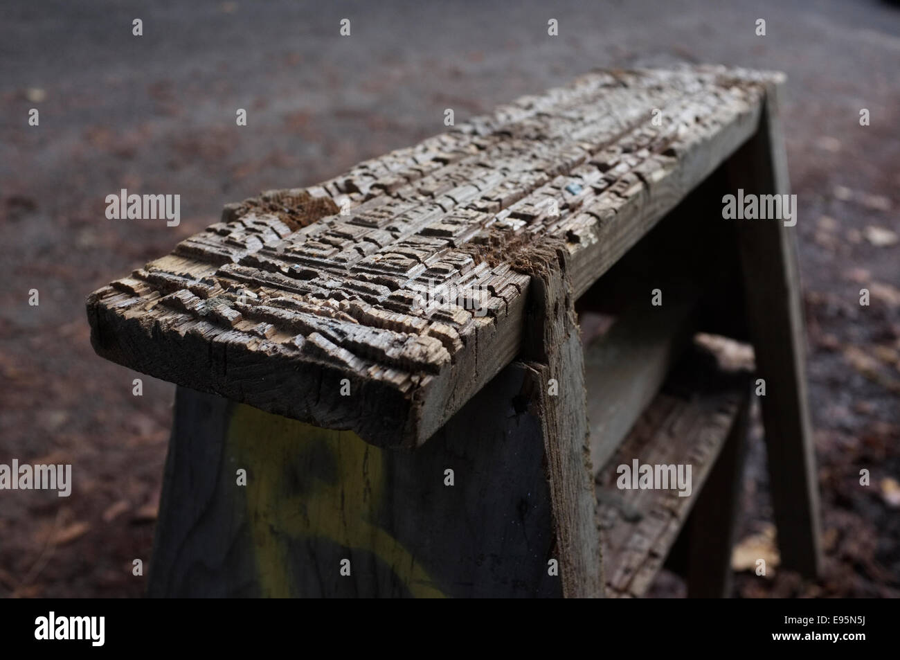 Close up of a old vintage worn wooden carpenters Trestle, - Stock Image