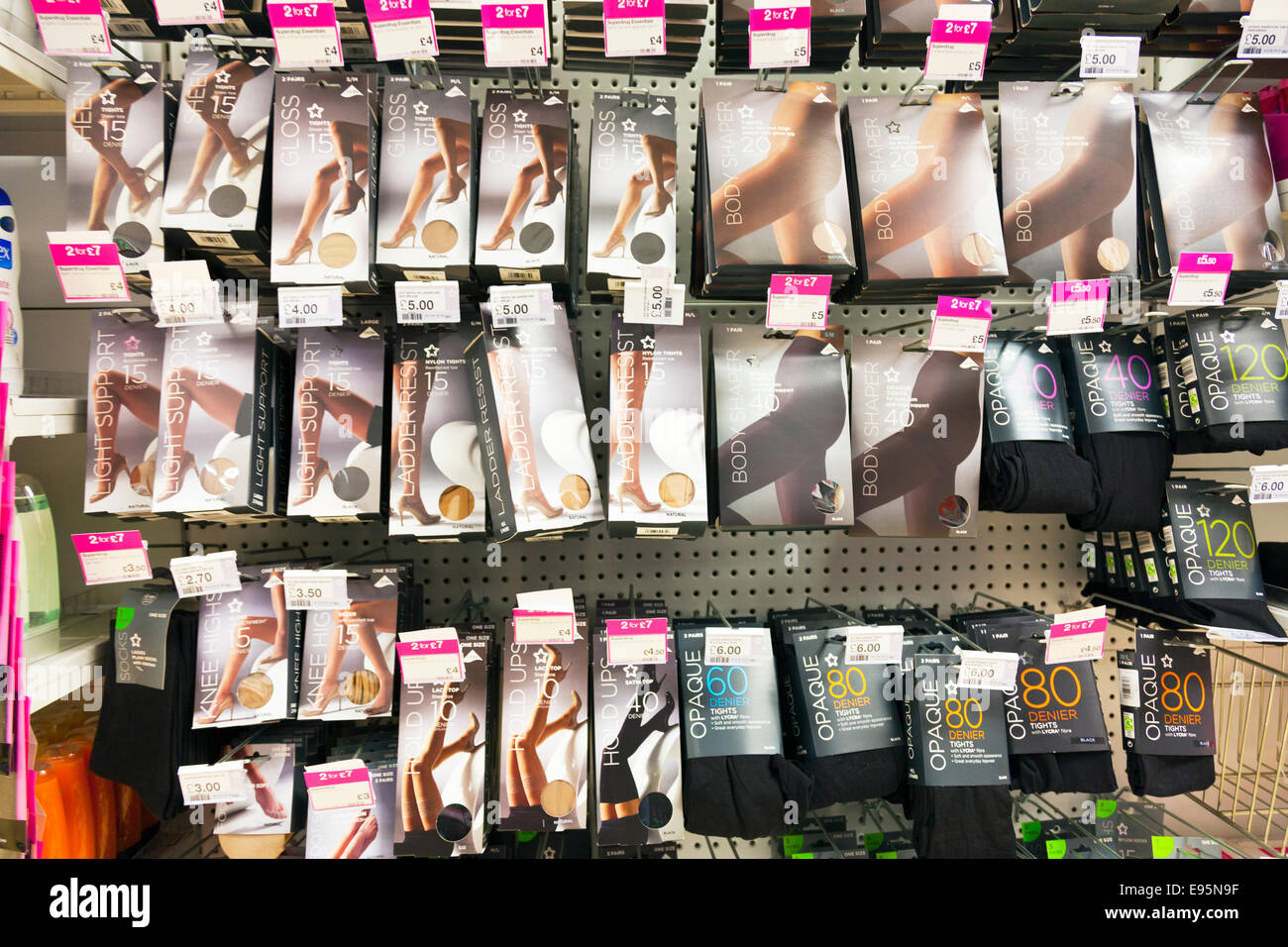 nylon tights nylons stockings boxed boxes product products on shelf at chemist Chemists shop store inside display - Stock Image