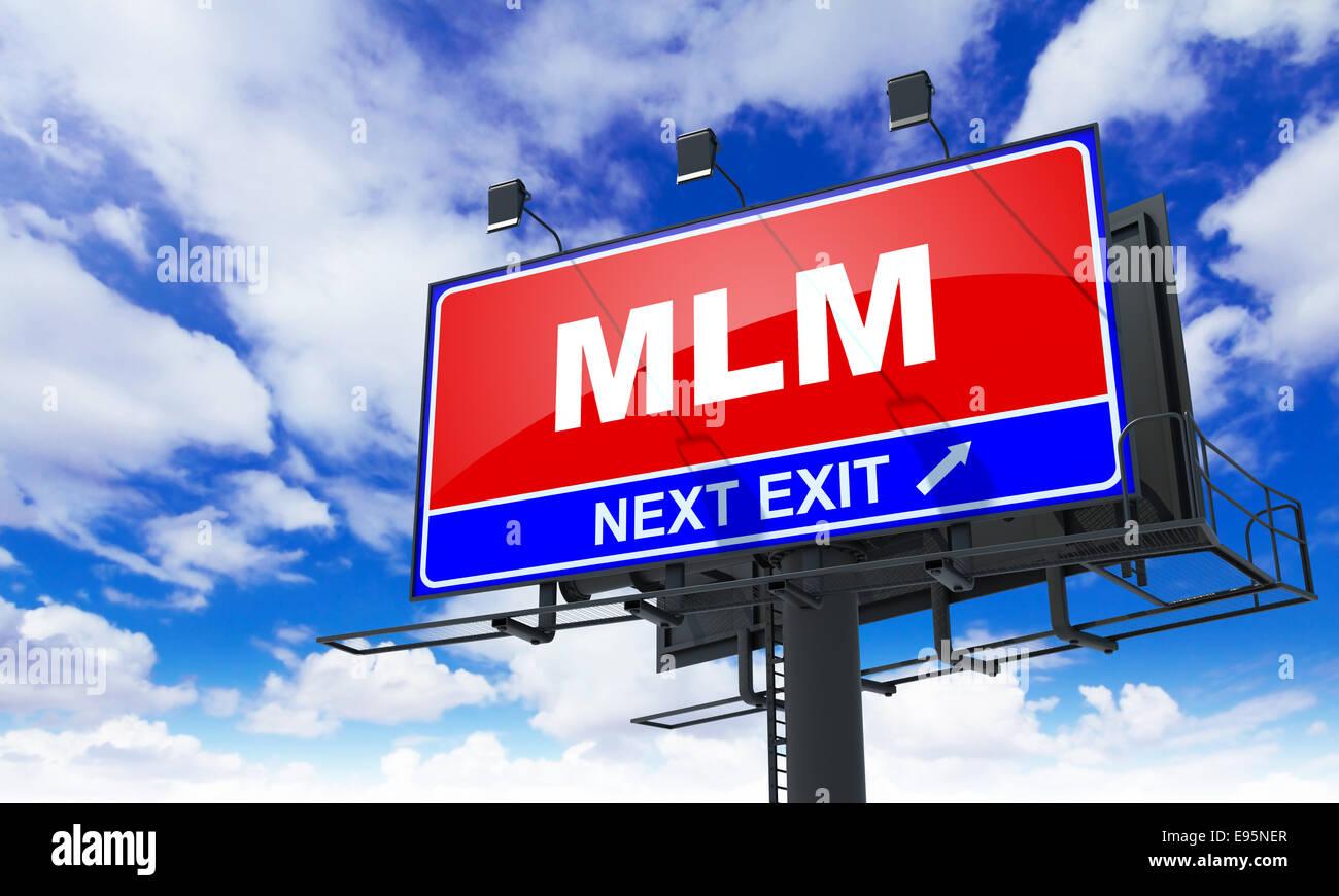MLM Inscription on Red Billboard. - Stock Image