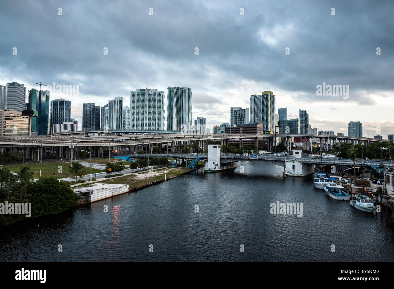 River and Miami downtown on a overcast day. Florida, USA - Stock Image