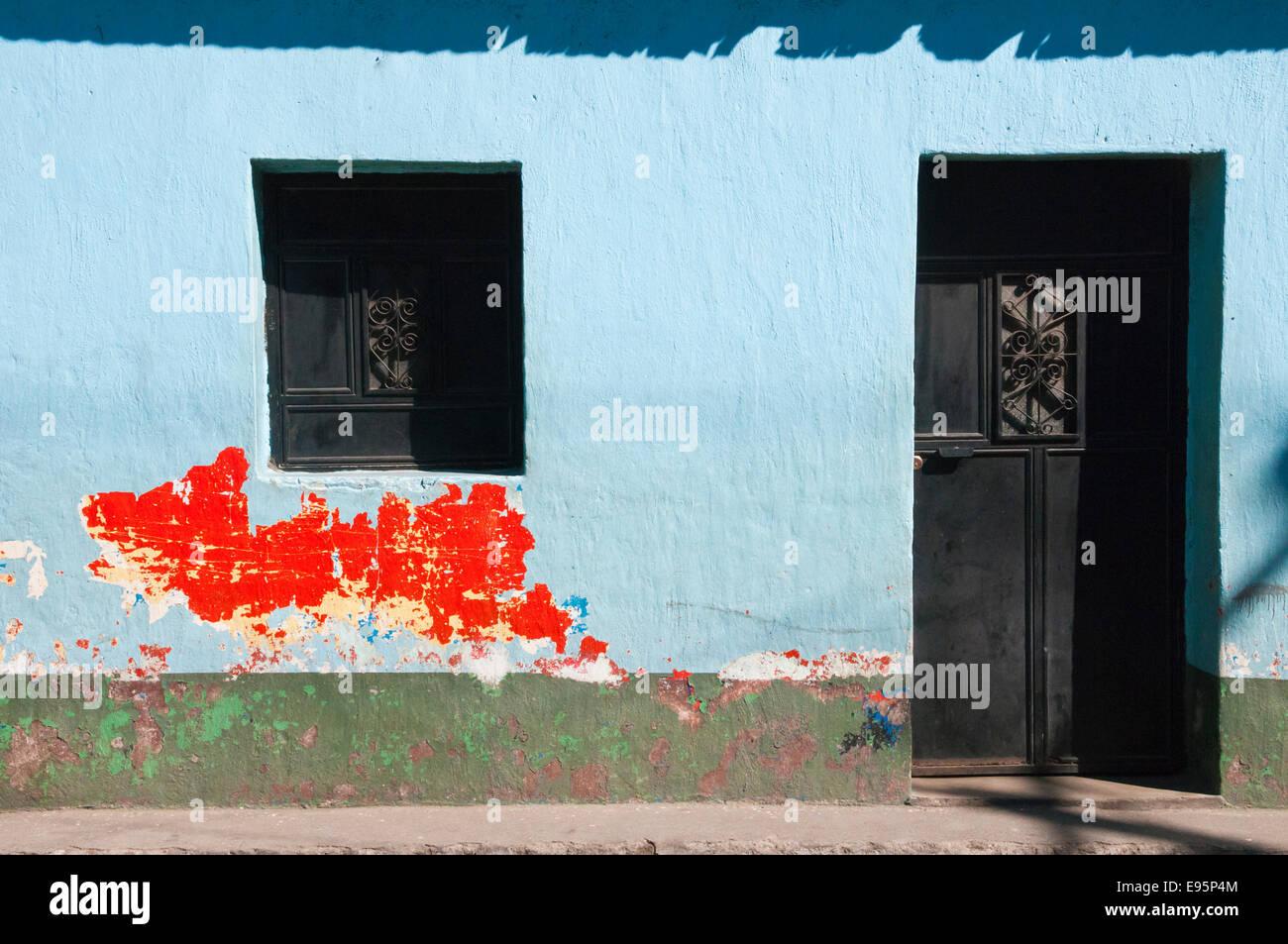 Colorful building and windows, Santiago Atitlan, Guatemala Stock Photo