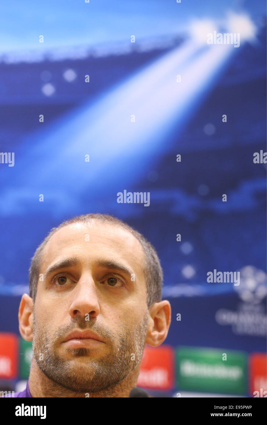 Moscow Region, Russia. 20th Oct, 2014. FC Manchester City defender Pablo Zabaleta looks on at a press conference - Stock Image