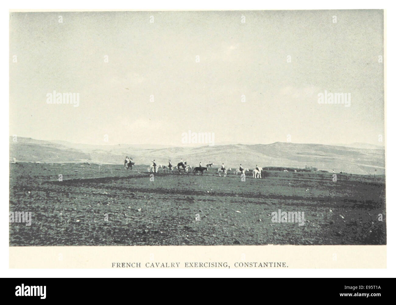 LAMBART(1895) p076 FRENCH CAVALRY EXERCISING, CONSTANTINE - Stock Image