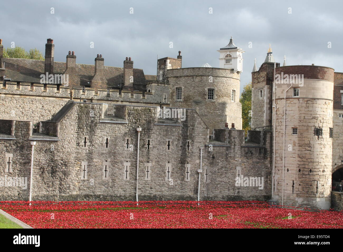Blood Swept Lands and Seas of Red - Paul Cummins  Poppies at the Tower of London - Stock Image