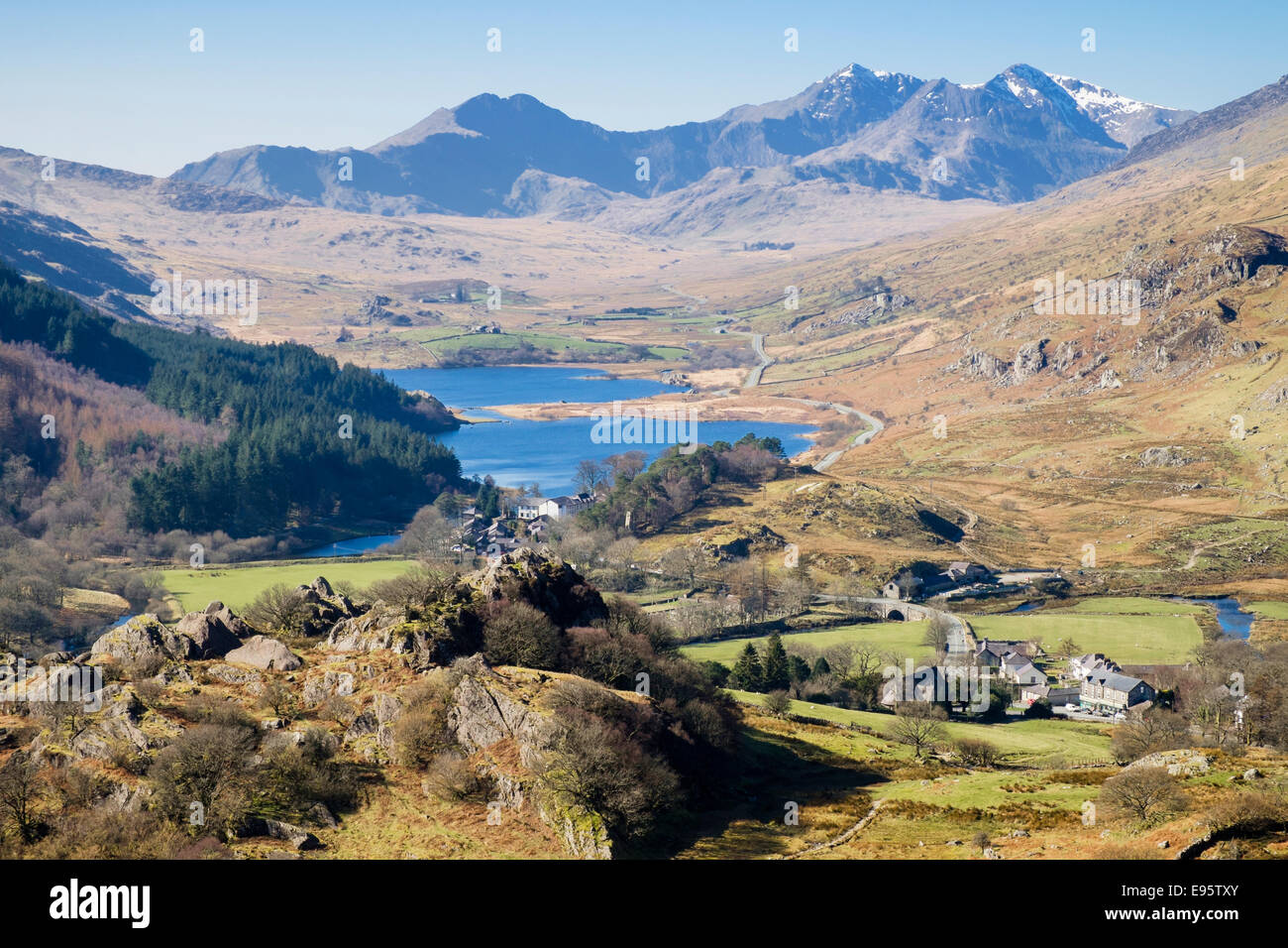 Scenic view above Capel Curig to Llynnau Mymbyr lakes and Snowdon Horseshoe in Snowdonia National Park mountains - Stock Image