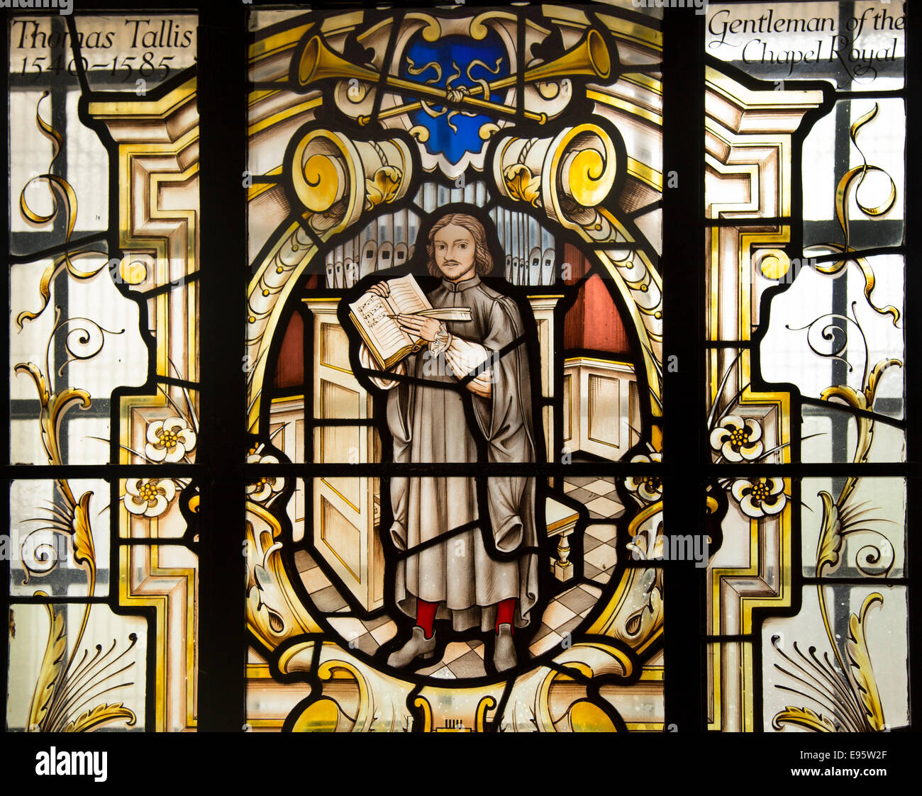 Thomas Tallis, composer of English choral music, depicted in stained glass window at St Alfege church, Greenwich, - Stock Image