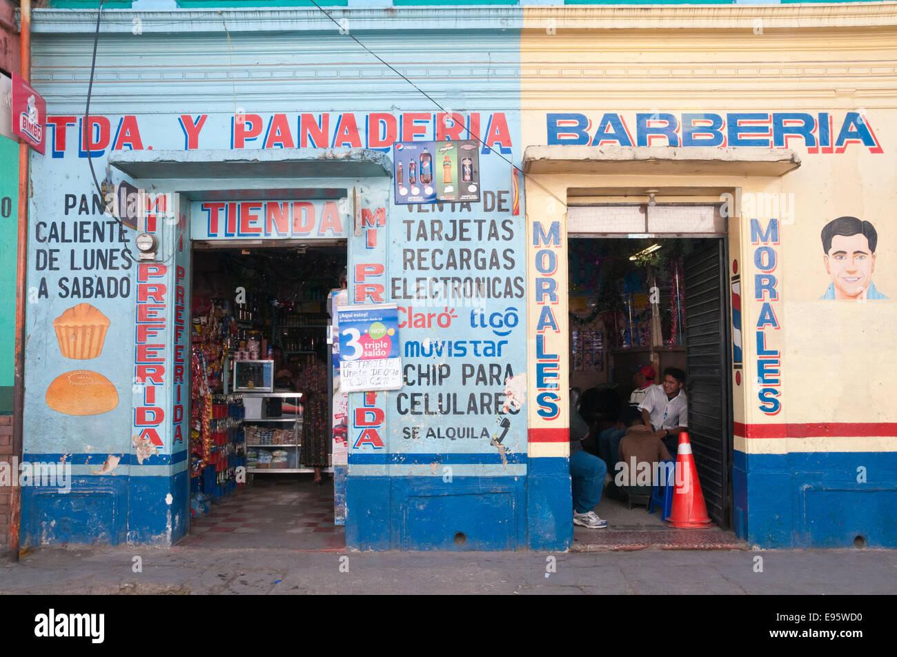 Barber (Barberia) and Bakery (Panaderia), Solola, Guatemala - Stock Image