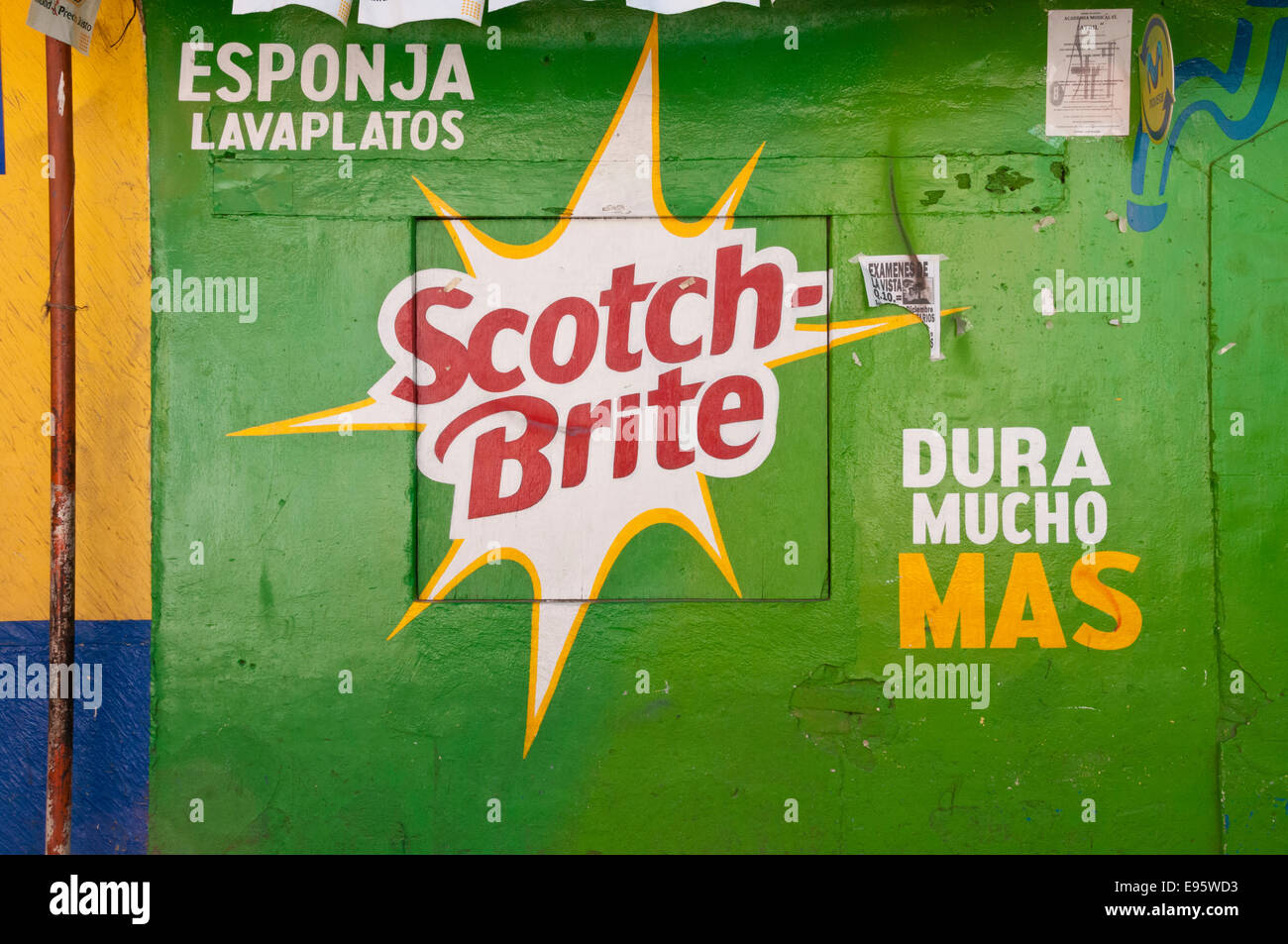 Scotch Brite, home cleaning products, advert painted on the side of a building, Solola, Guatemala - Stock Image