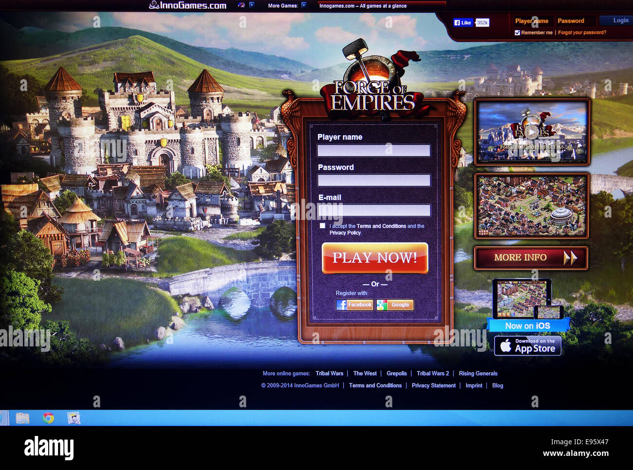 Forge of Empires web site - Stock Image