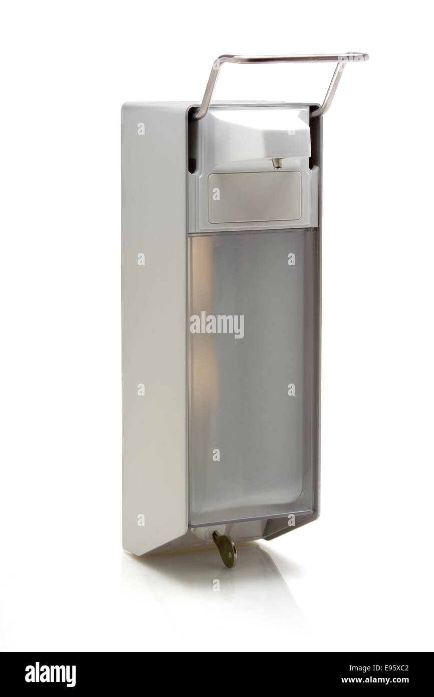 Wall soap dispenser isolated on white background - Stock Image