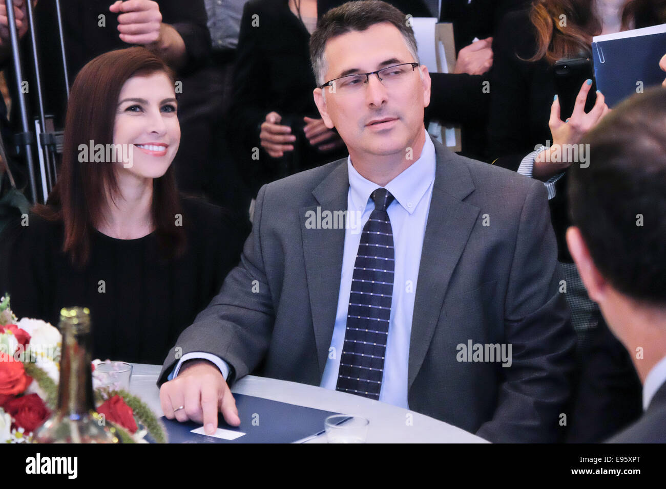 Jerusalem. 20th Oct, 2014. Israeli Minister of Interior, GIDEON SAAR, and wife, GEULA EVEN, arrive to partake in - Stock Image