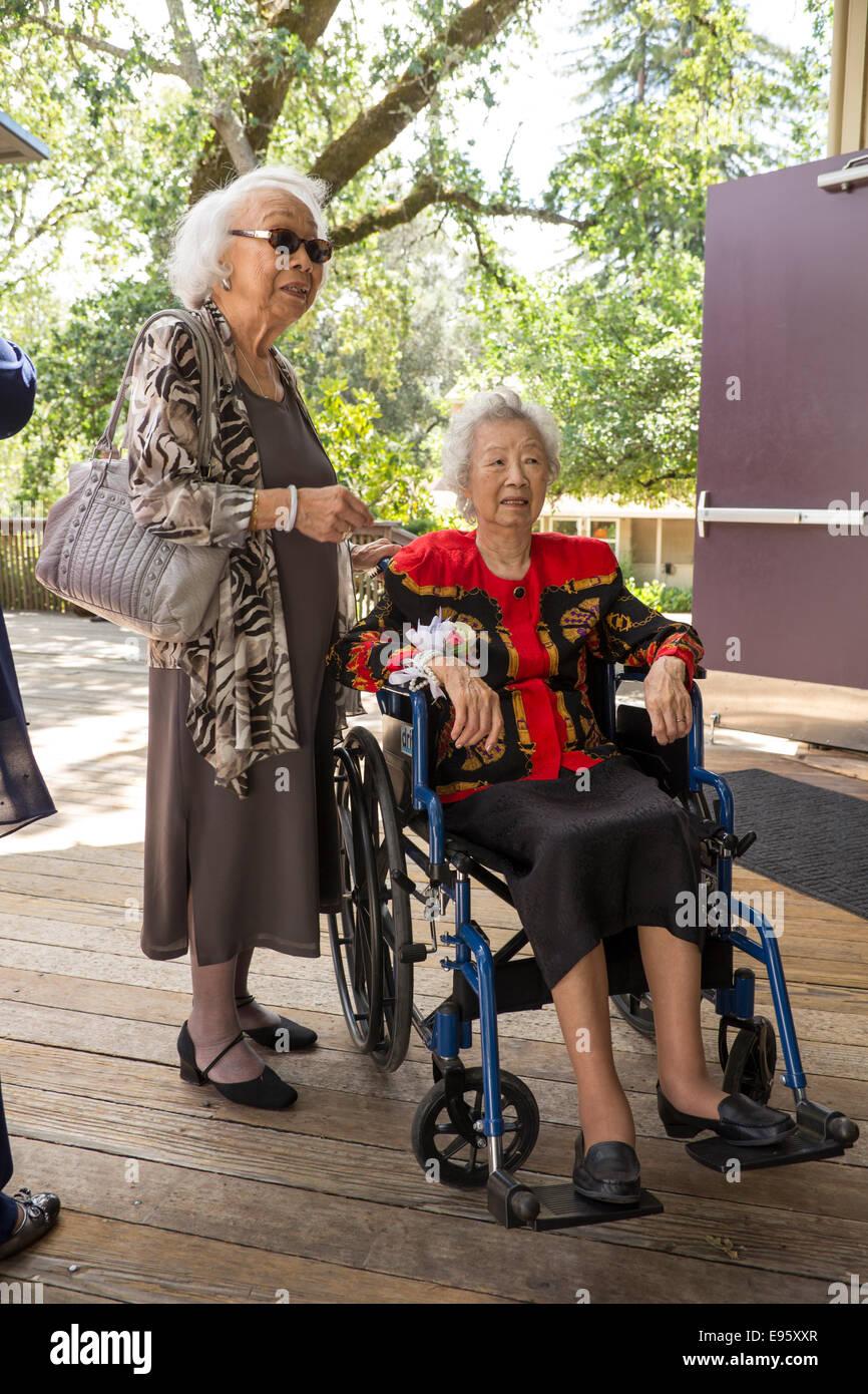 elderly women, wedding guests, wedding, Marin Art and Garden Center, Ross, Marin County, California, United States - Stock Image