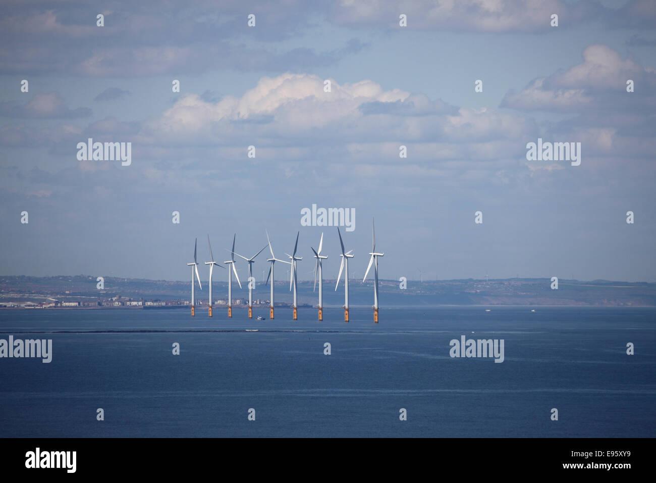 Teeside Offshore Wind Farm near Saltburn-by-the-Sea, United Kingdom. - Stock Image