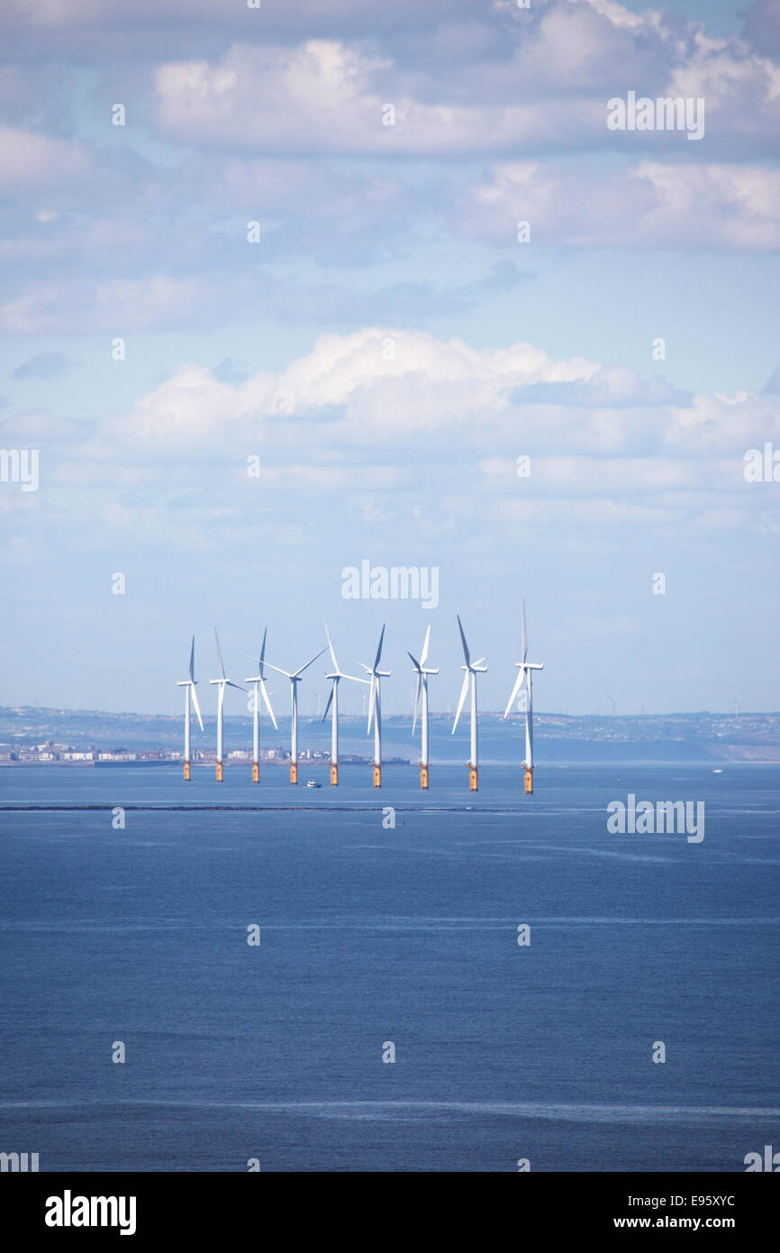 Teeside Offshore Wind Farm near Saltburn-by-the-Sea, United Kingdom. Stock Photo