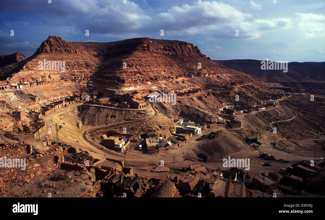 View of a fortified berber village of Chenini,Tunisia Stock Photo
