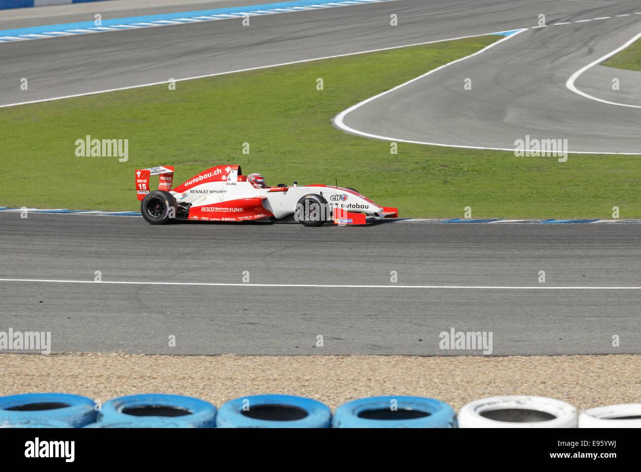 JEREZ DE LA FRONTERA, SPAIN - OCTOBER 19, 2014: Kevin Jorg of Josef Kaufmann Racing Team drives his car at Jerez - Stock Image