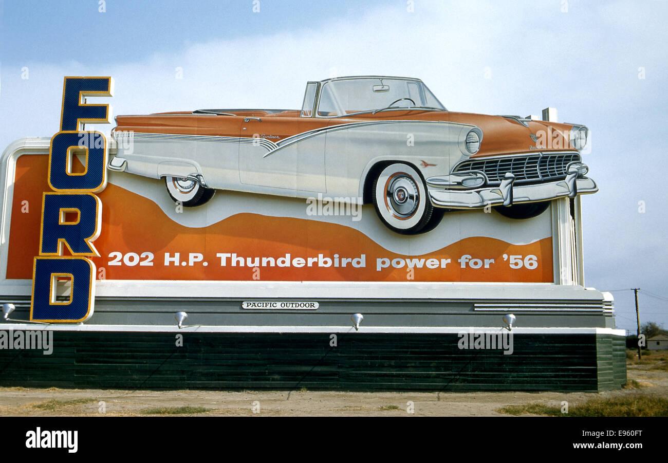Billboard advertising Ford Thunderbird in 1956 Stock Photo
