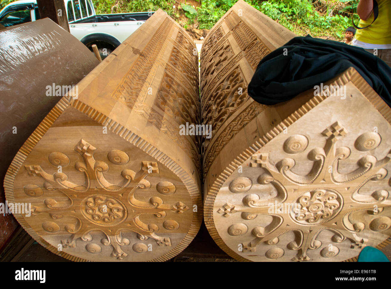 new coffins at kete kesu in sulawesi in indonesia - Stock Image