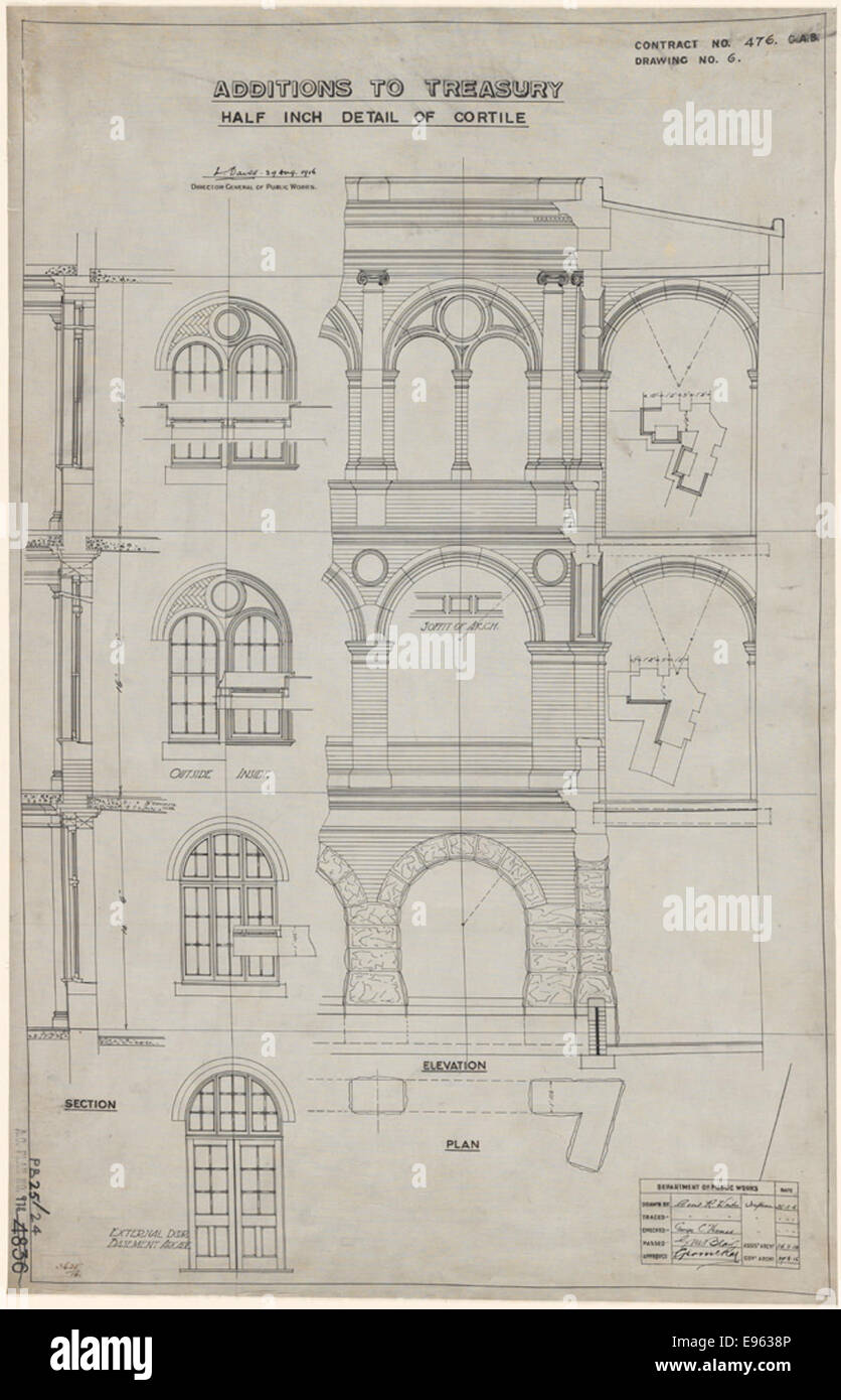 Sydney Treasury Buildings. Additions. Detail of Cortile. Plan, elevation and section. Signature of architect (G - Stock Image