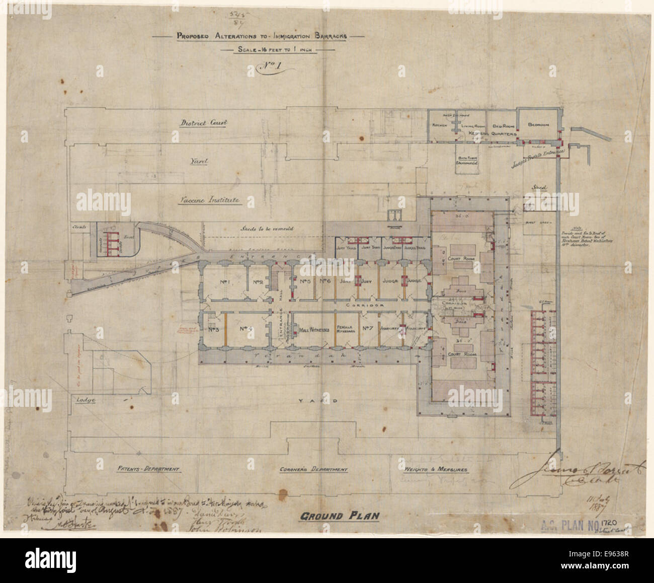 Sydney Proposed alterations to Immigration Barracks. Ground plan, No. [Number] 1 - Stock Image